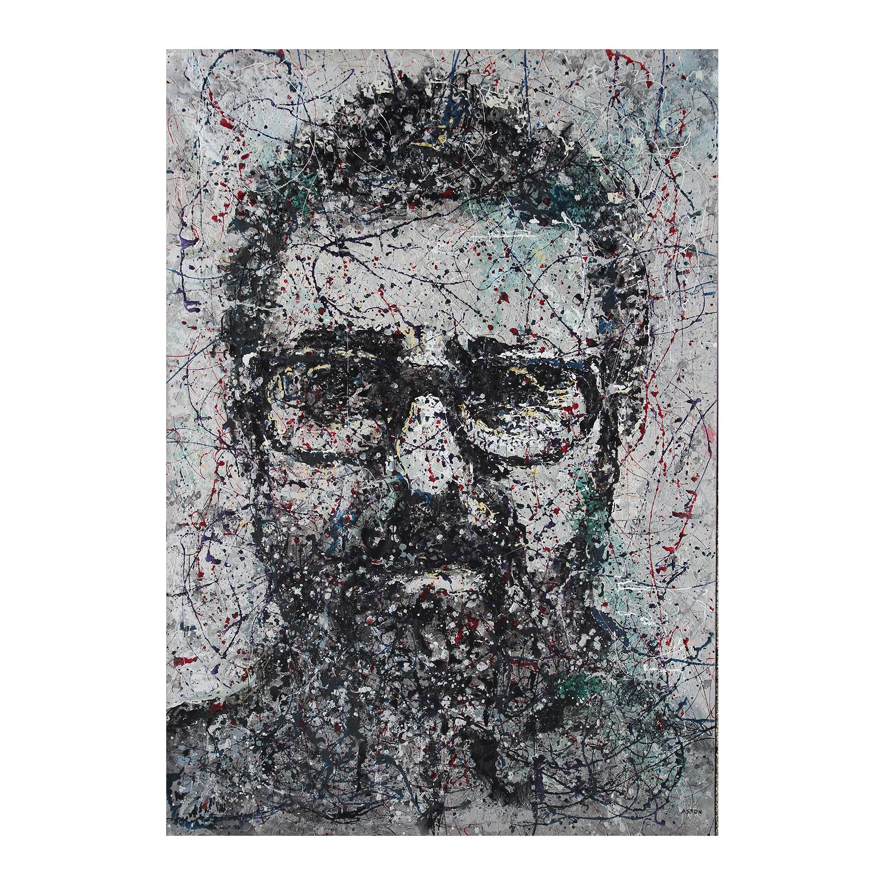 Large Silver, Black, and Red Portrait Abstract Splatter Painting on Canvas