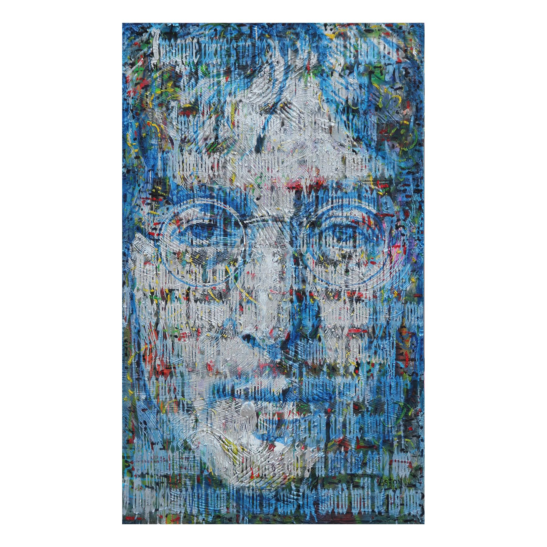 """Large Abstract Blue and Silver Portrait of John Lennon and """"Imagine"""" Song Lyrics"""