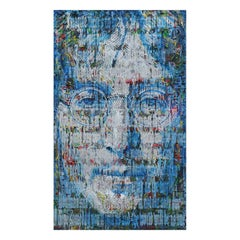"Large Abstract Blue and Silver Portrait of John Lennon and ""Imagine"" Song Lyrics"
