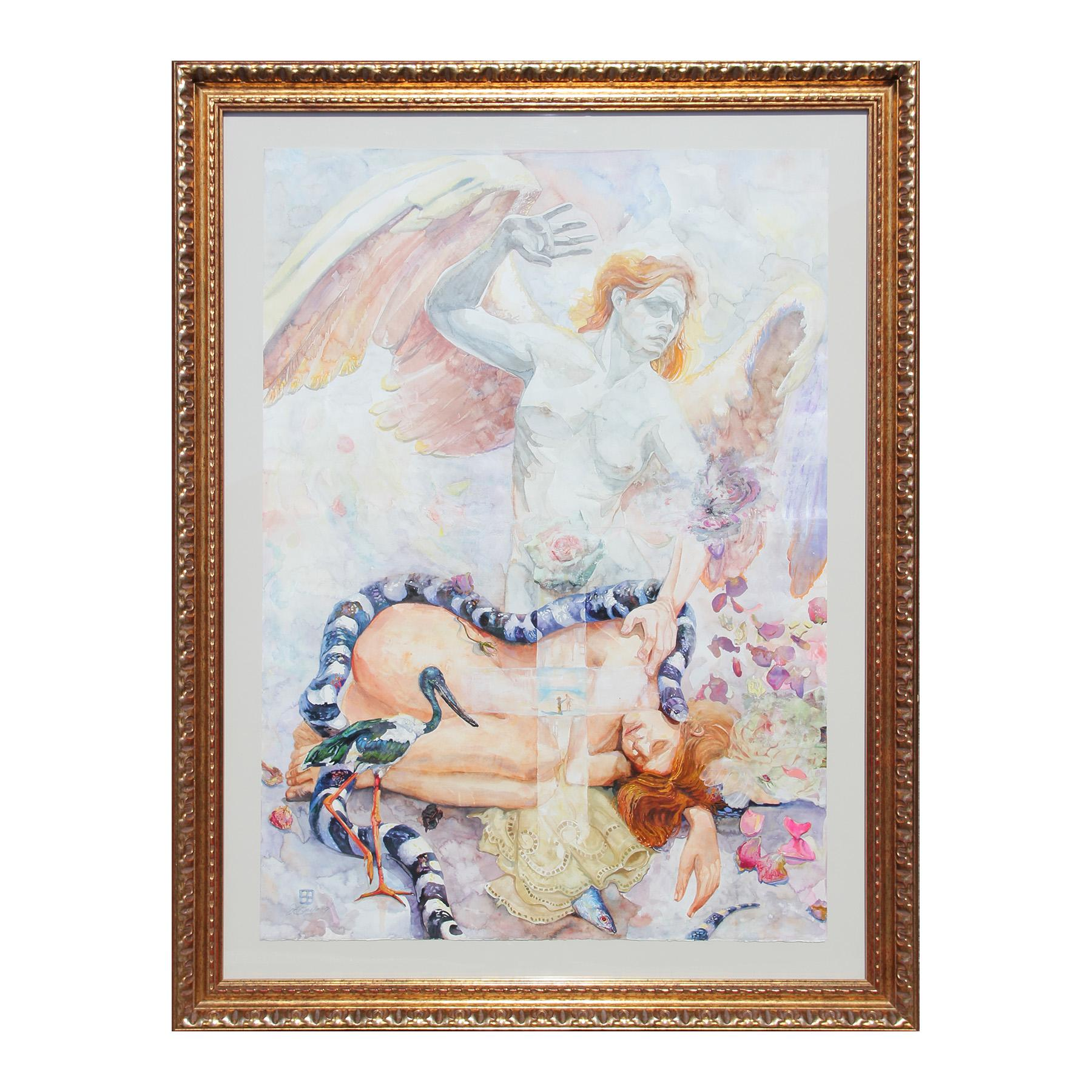 """""""Sacred"""" Angel Abstract Figurative Portrait with Snake, Bird, and Fish Painting"""