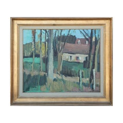 """""""Paysage à Canon"""" Blue and Green Toned Pastoral Impressionist Landscape Painting"""