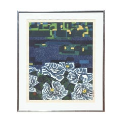 """Morning (Peonies)"" Abstract Blue and Yellow Japanese Floral Landscape Print"
