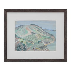 Pastel Blue and Green Toned Abstract Watercolor Mountainous Seaside Landscape