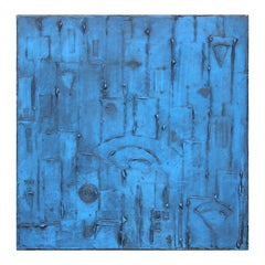 Modern Abstract Blue Toned Geometric Impasto Painting
