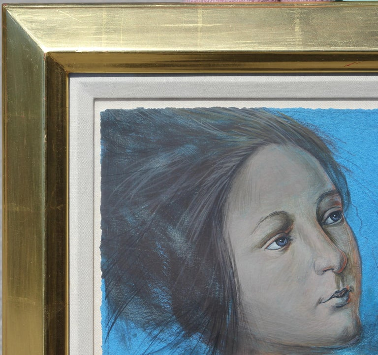 Large abstract blue-toned figurative portrait that depicts a woman and with string looped around her fingers also recognized as one of the oldest games in human history: Cat's Cradle (which involves creating various string figures by passing loops