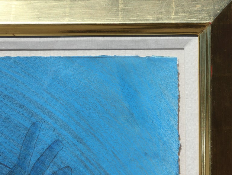 """""""Blue Cat's Cradle"""" Modern Abstract Blue Mixed Media Female Figurative Painting For Sale 1"""