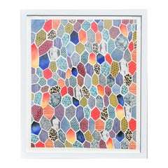 """Nana's Quilt"" Abstract Colorful Geometric Pattern and Nude Figures Painting"