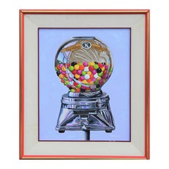 Abstract Vintage Colorful Gumball Candy Machine Painting