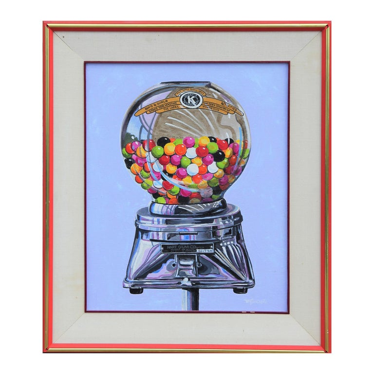 W. R. Stevenson Abstract Painting - Abstract Vintage Colorful Gumball Candy Machine Painting