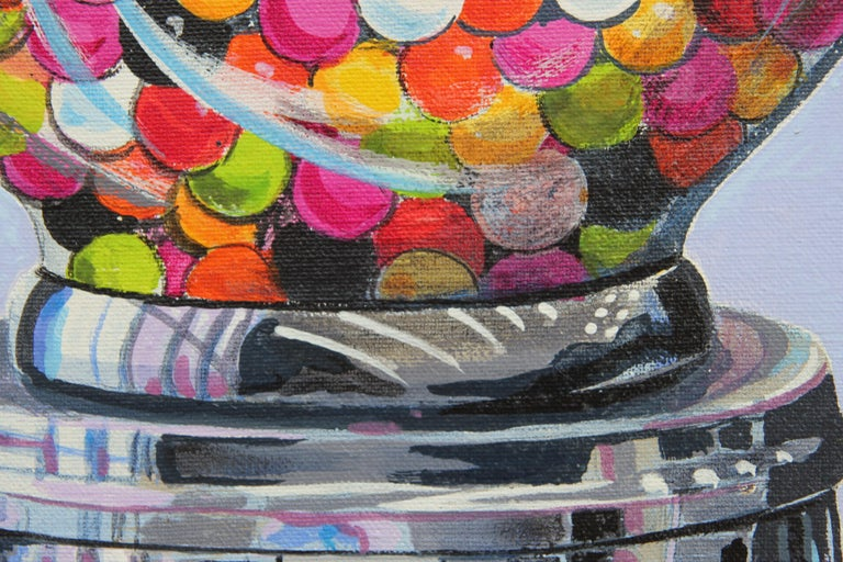 Abstract vintage colorful painting of a gumball candy machine on a periwinkle background. Signed by the artist in the bottom right corner and hung in a complimentary bright orange and gold frame.   Dimensions Without Frame: H 20 in. x W 16 in.