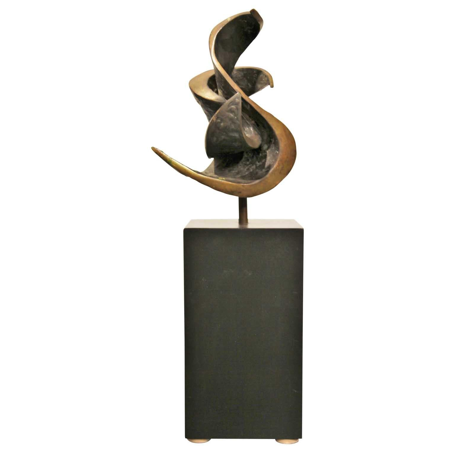Abstract Bronze Sculpture with Black Wood Rectangle Base