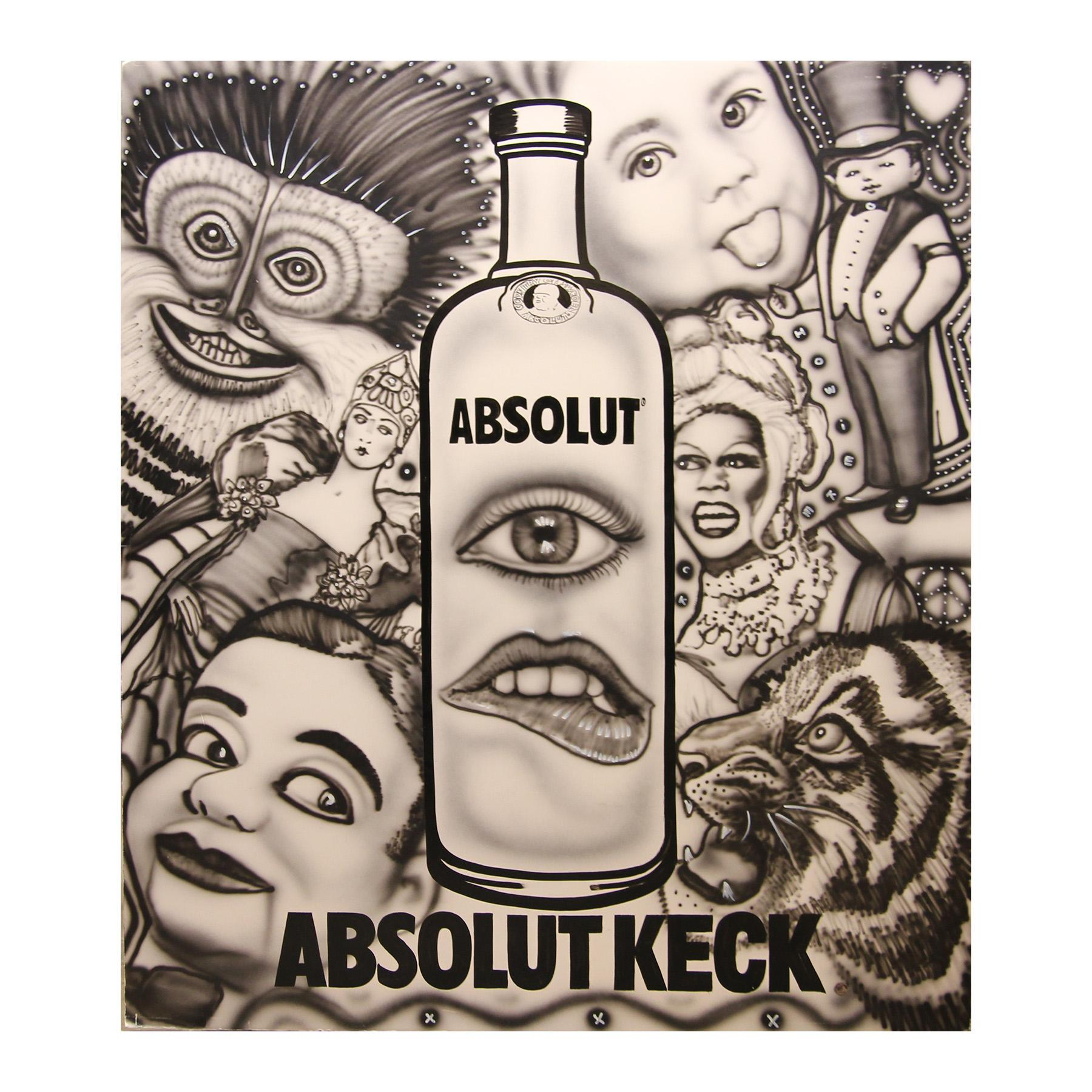"""""""Absolut Keck"""" Vodka Abstract Surrealist Black and White Airbrush Painting"""