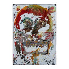 """""""The O.G."""" Modern Abstract Contemporary Day of the Dead Warm Toned Drip Skull"""