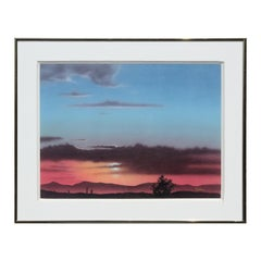 Realist Blue & Orange Toned Sunset Over Desert Mountainous West Texas Landscape