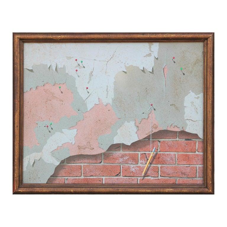 Boyd Graham Still-Life Painting - Modern Realist Still Life Study of a Brick Wall, Pins and Pencil