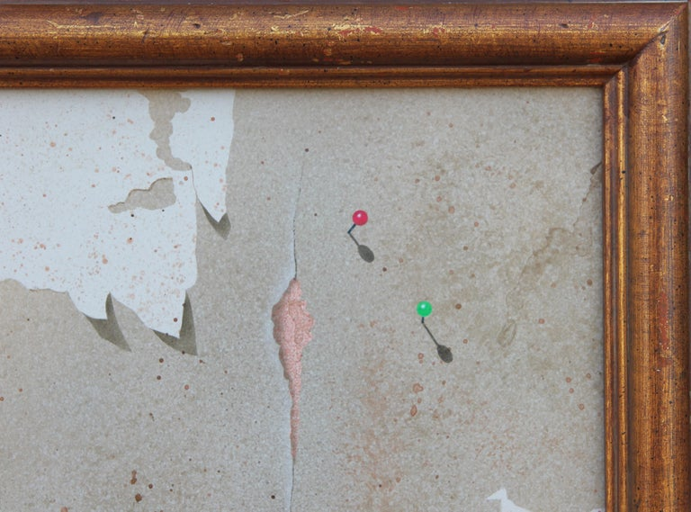 Modern Realist Still Life Study of a Brick Wall, Pins and Pencil  For Sale 4