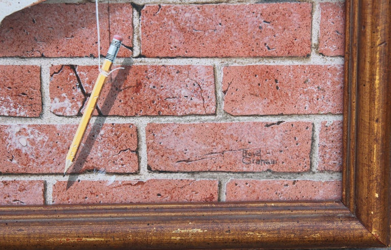 Modern Realist Still Life Study of a Brick Wall, Pins and Pencil  For Sale 6