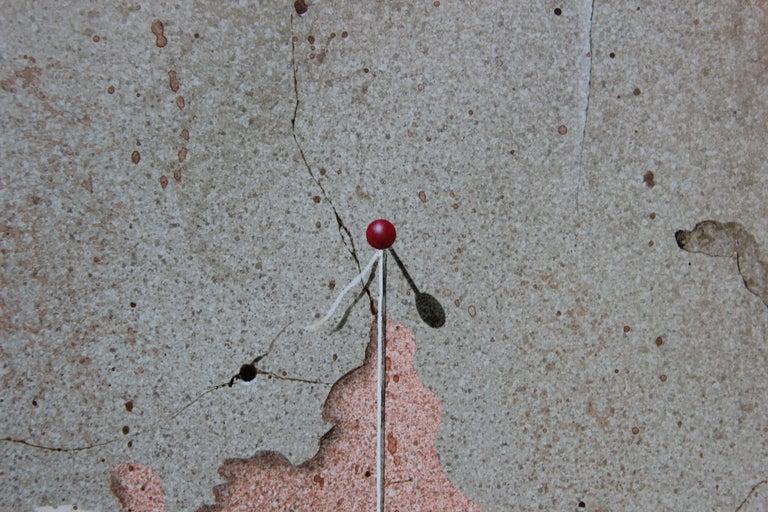 Modern Realist Still Life Study of a Brick Wall, Pins and Pencil  - Gray Still-Life Painting by Boyd Graham
