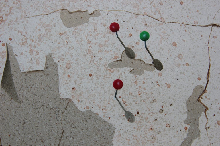 Modern Realist Still Life Study of a Brick Wall, Pins and Pencil  For Sale 1