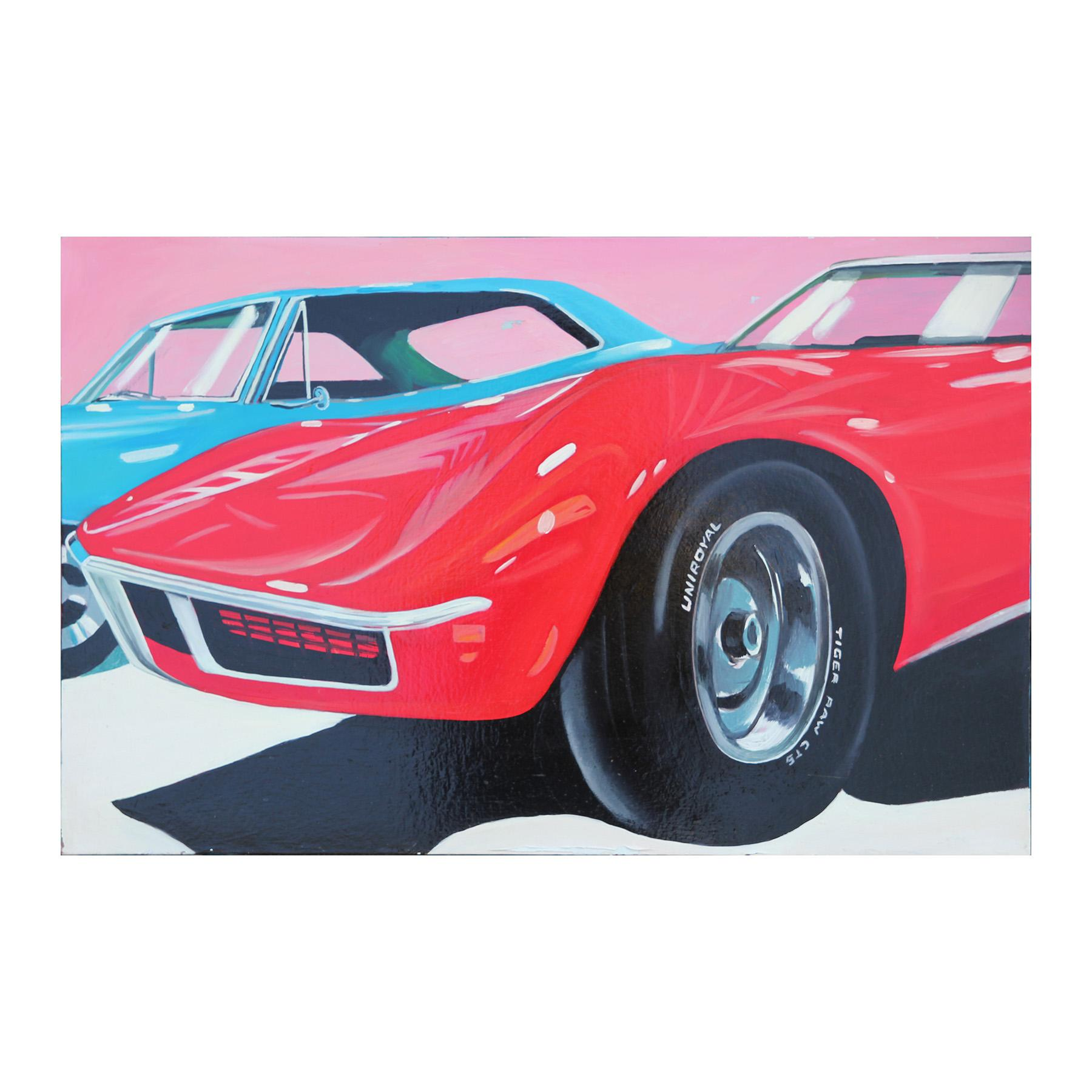 """""""1970 Stingray"""" Modern Photorealistic Classic Red and Blue Muscle Car Painting"""