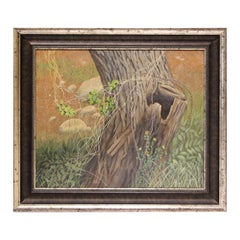 Modern Realist Pastoral Still Life / Landscape Tree Stump & Barbed Wire Painting