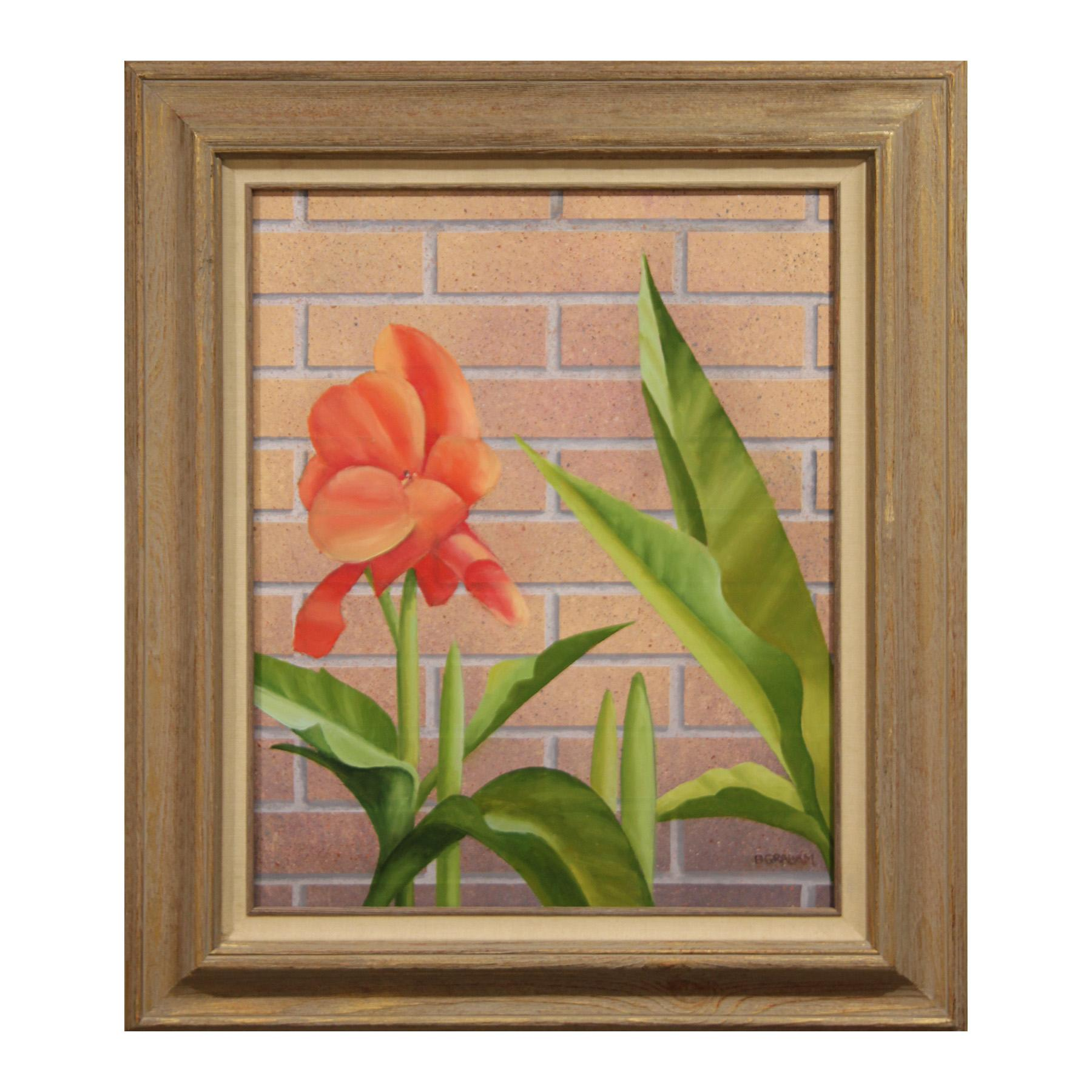 """Mid Summer"" Modern Realist Still Life Study of Pink Flower Against a Brick Wall"
