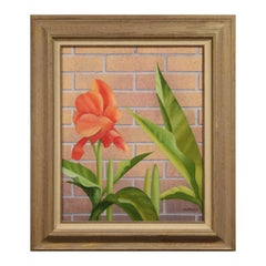 """Mid Summer"" Modern Realist Still Life Study of Pink Flower Against a Brick Wall"