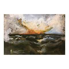 """Abstract Contemporary """"Angry Ocean"""" Clown Seascape Print on Metal"""