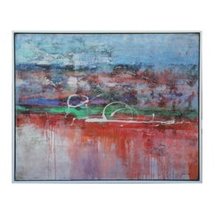 Large Modern Abstract Mixed Media Blue, Red, and Green Toned Landscape Painting