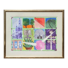 """""""San Miguel De Allende"""" Abstract Colorful Church and City Landscape Painting"""