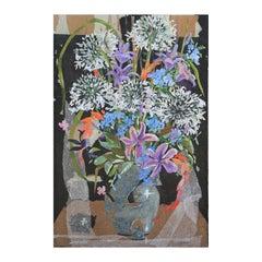 Purple, Orange, and Blue Impressionist Floral Still Life Mixed Media Painting