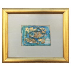 Small Abstract Modern Blue and Gold Leaf Watercolor Portrait of Two Fish
