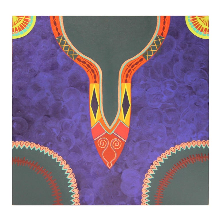 """Evangeline Gichina Abstract Painting - Colorful Abstract Contemporary """"Blue Dress I"""" African Dashiki Textile Painting"""
