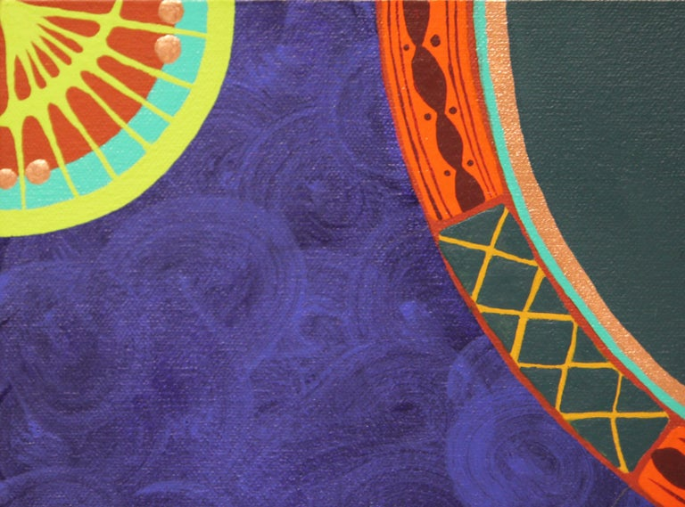 """Colorful Abstract Contemporary """"Blue Dress I"""" African Dashiki Textile Painting - Gray Abstract Painting by Evangeline Gichina"""