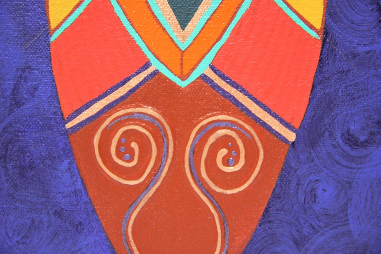 """Colorful Abstract Contemporary """"Blue Dress I"""" African Dashiki Textile Painting For Sale 1"""