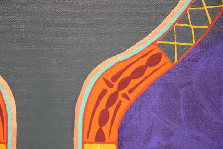 """Colorful Abstract Contemporary """"Blue Dress I"""" African Dashiki Textile Painting For Sale 2"""