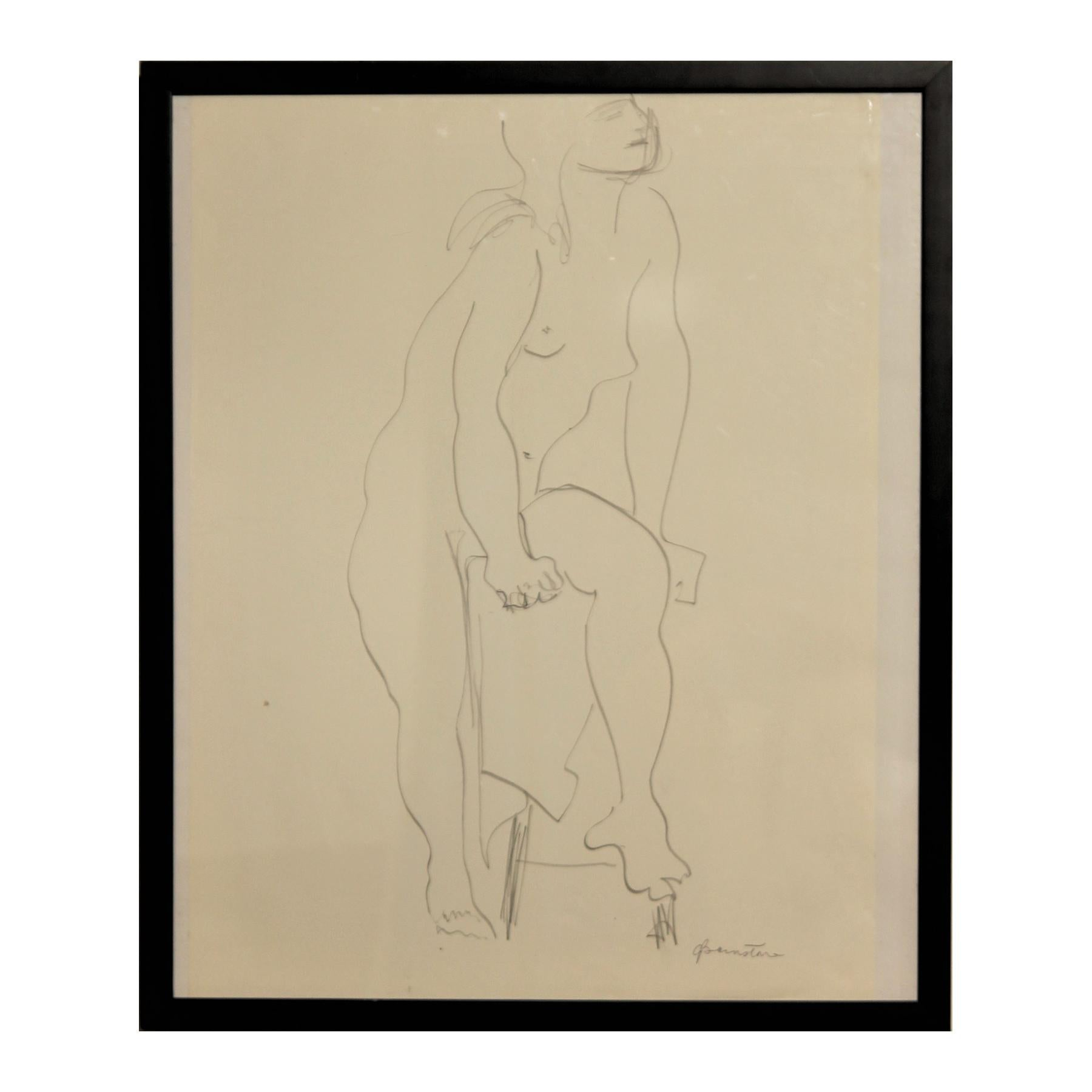 Abstract Pencil Contour Line Drawing of Female Nude with Raised Leg