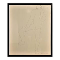 Abstract Pen Contour Line Drawing of Male Nude Back with Raised Leg