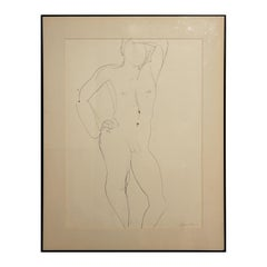 Abstract Pen Contour Line Drawing of Standing Male Nude