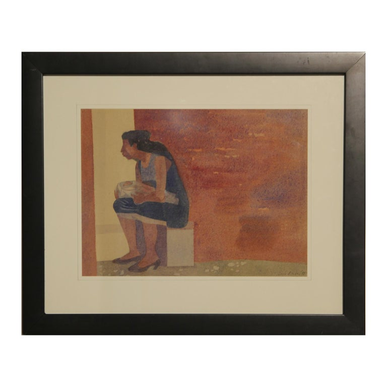 """Luis Eades Figurative Art - Abstract Watercolor of a """"Woman and Child"""" Seated Against a Wall"""