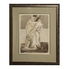 """""""Seated Lovers"""" Abstract Grey-Toned Watercolor of Two Embracing Seated Figures"""