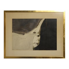 Untitled Abstract Black and White Watercolor Portrait of a Hidden Face