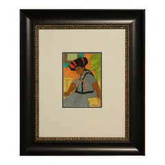 Colorful Watercolor Portrait of Seated Female in Blue Dress and Black + Red Hat