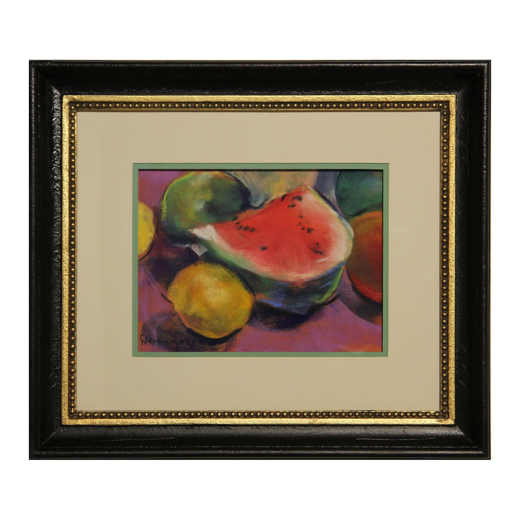 Warm Toned Colorful Realistic Watermelon and Lemon Still Life Fruit Drawing