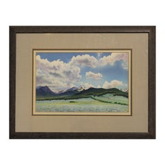 Blue Toned Watercolor Landscape Painting of Mountains at Longs Peak in Colorado