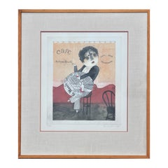 Modern Abstract Madame Marcelle Café Warm Toned Synthetic Cubism Lithograph