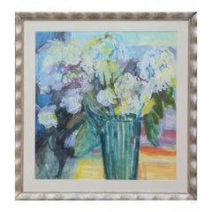 Blue & Green Pastel Toned Impressionistic Floral Watercolor Still Life Painting