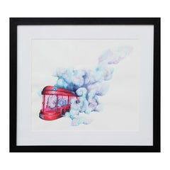 """""""Fold Space from Hazard"""" Red and Blue Realistic Pop Culture Watercolor Painting"""