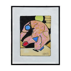 Pink, Green, Blue, & Red Geometric Abstract Mixed Media Painting of a Figure
