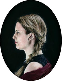 Joanne in Profile - Hyperrealist Oil Painting on Panel of Woman in Profile